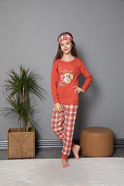 Tarık Kız Genç Papatya Baskılı Ekose Desenli Kiremit Uzun Kollu Interlok Pijama Takımı