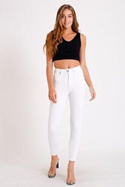 Kadın Beyaz Yüksek Bel Kot Pantolon