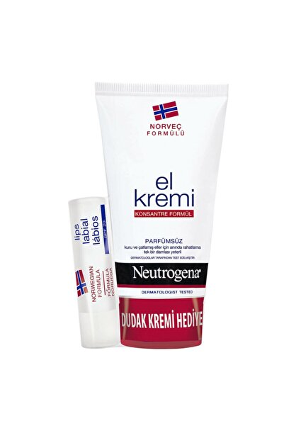 Neutrogena El Kremi 75 ml + Hediye Dudak Nemlendiricisi Seti Parfümsüz