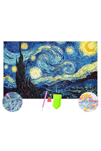 HONDEP 5d Sayılarla Elmas Boyama Van Gogh Yıldızlı Gece Diamond Painting Kit 50x70 cm Mozaik Tuval Hobi Set