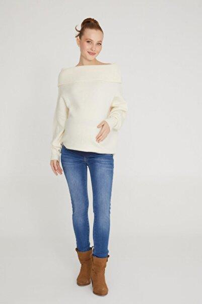 VAVIEN Kadın Koyu Mavi Hamile Skinny Jean Likralı Denim Pantolon  1073