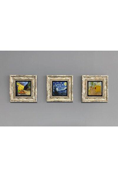 Oscar Stone Decor Çerçeveli Taş Duvar Dekoru Tablo 3'lü Set 20x20cm Vincent Van Gogh Yıldızlı Gece