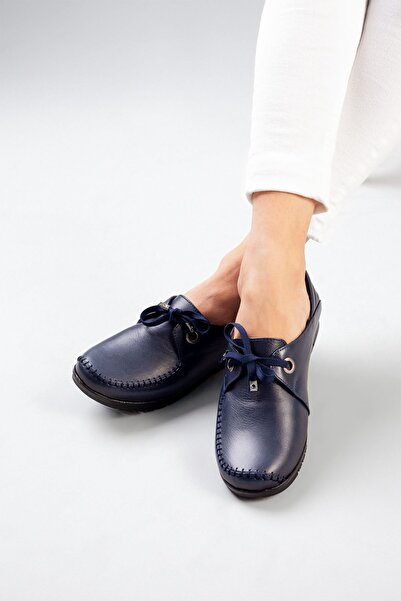 DERİMİSS Kadın Lacivert Hakiki Deri Ortopedik Ayakkabı A212kıvk0012