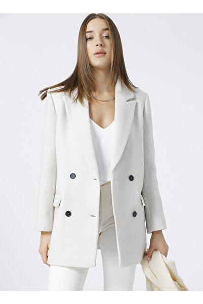 Fabrika Ceket Yaka Basic Bej Kadın Kaban