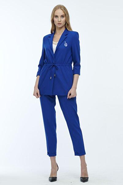 JEANNE DARC Mavi Ceketi Belden Büzgülü Pantolonu Lastikli Takım Jp39101
