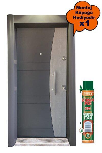 Tezdoor Çelik Kapı, Antrasit Kasalı Rustik Çizgili Düz Model Daire Kapısı, Tırnaklı Sistem Çelik Kapı