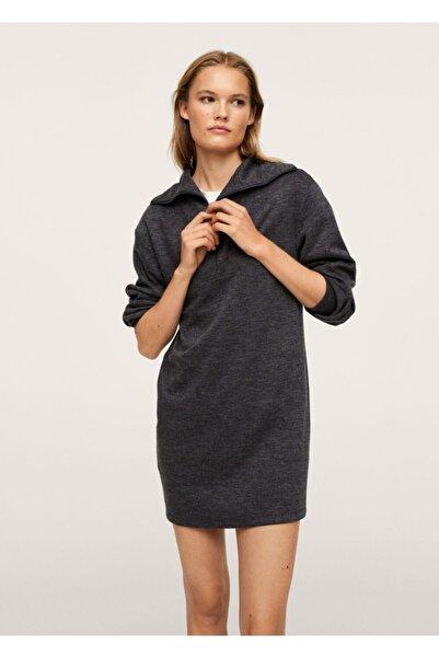 MANGO Woman Fermuarlı Kırçıllı Elbise