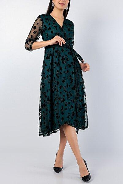 NKTCOLLECTİON Kadın Yeşil Flok Baskı Bağlamalı Anvelop Gece Parti Nişan Yeni Sezon Elbise 77510