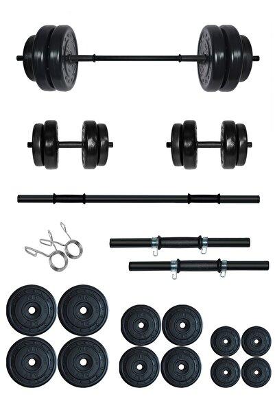 Fitset 75 kg Kombo Halter Seti ve Dambıl Seti Ağırlık Fitness Seti