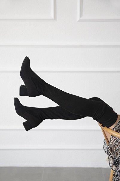 STRASWANS Almira Kadın Streç Çorap Çizme Siyah
