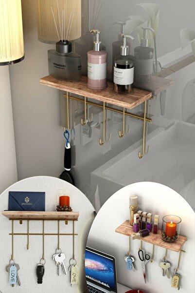 Maksipazar Dekoratif Raflı Çok Amaçlı Mutfak Ve Banyo Düzenleyici Askı