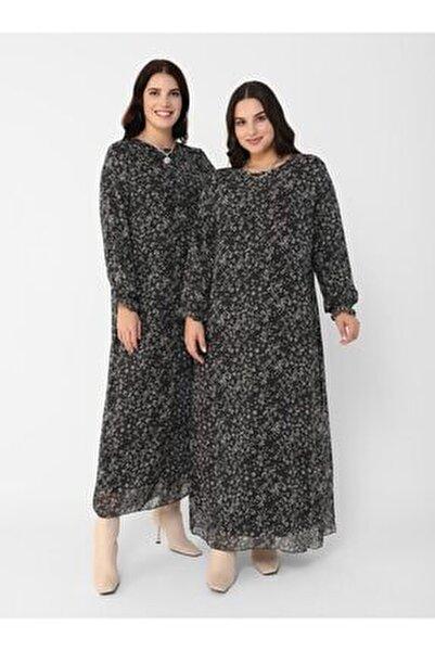 Kadın Siyah  Büyük Beden Desenli Şifon Elbise