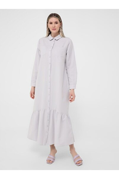 ALİA Kadın  Soft Lila Büyük Beden Boydan Düğmeli Elbise