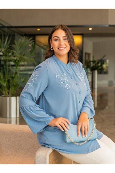ALİA Kadın Buzul Mavi Büyük Beden Nakış Detaylı Tunik