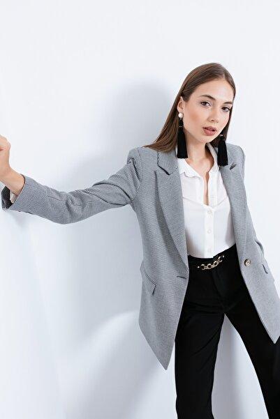 Lafaba Kadın Gri Tek Düğmeli Süs Kapak Cepli Ceket