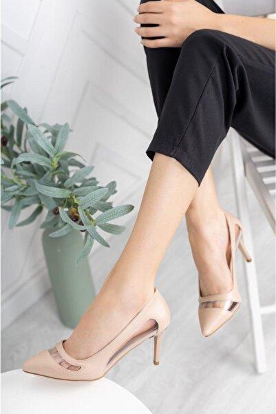 Ekol Ayakkabi Kadın Stiletto Şeffaf Detaylı Ten Rengi