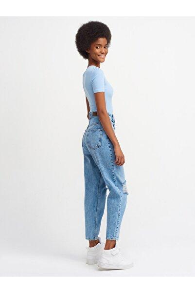 Dilvin 4347 Diz Bölümü Lazerli Mom Pantolon-mavi