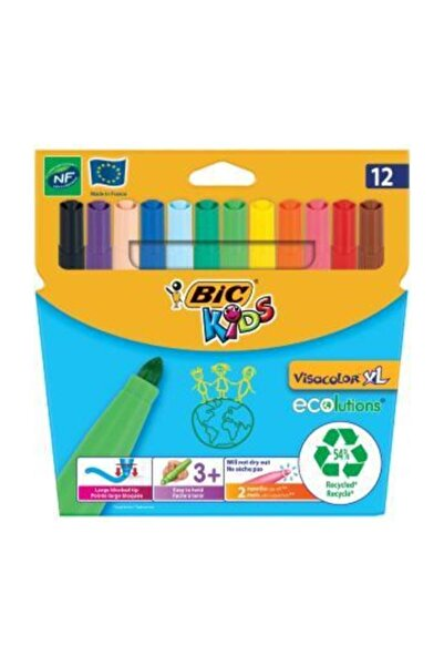 Bic Kids Visacolor Xl Ecolutions Colouring Jumbo Keçeli Kalem 12 Li Kampanyalı