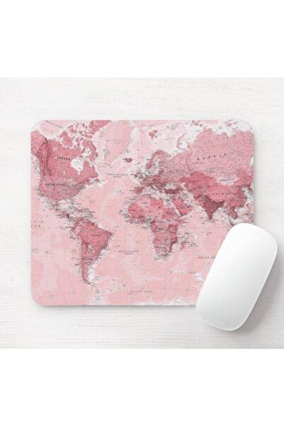 SEÇ Baskı Tasarım Pembe Dünya Haritası Mouse Pad