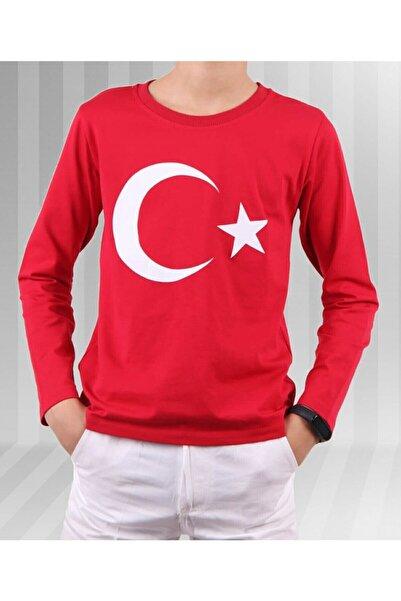 durumod Unisex Çocuk Kırmızı Ay Yıldız Türk Bayraklı Uzun Kollu T-shirt