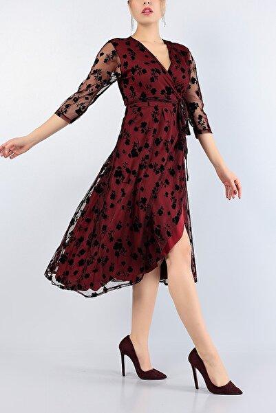 NKTCOLLECTİON Kadın Bordo Flok Baskı Bağlamalı Anvelop Gece Parti Nişan Elbise 77509