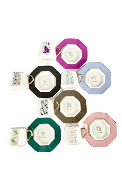 ACAR Lüx Porselen 3 Vakte Kadar 6 Lı Fincan Takımı 6 Renk 6 Ayrı Yazı