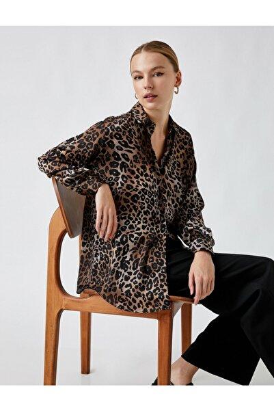 Koton Leopar Desenli Klasik Yaka Oversize Gömlek Kadın