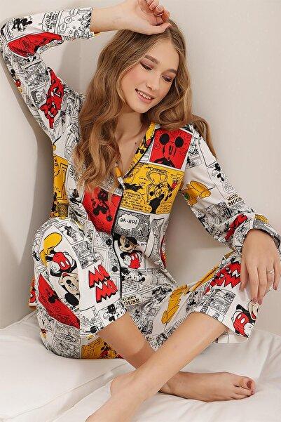PinkPark Kadın Sarı Gömlek Yaka Paçası Ve Beli Lastikli Baskılı Pijama Takımı Cnl0002