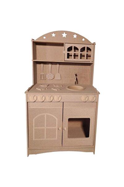 Özka Hobi Ahşap Ahşap Mdf 2 Kapaklı Montessori Eğitici Oyuncak Mutfak Seti + 2 Adet Boya