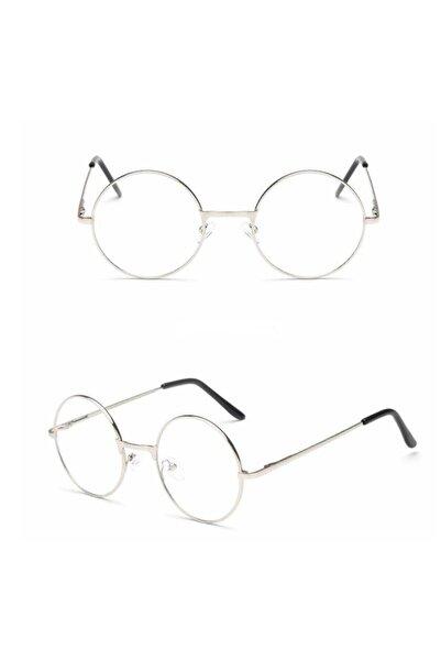 Retro Unisex Yuvarlak Şeffaf Gözlük