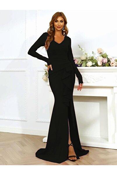 tknfashion V Yaka Yırtmacı Volan Detaylı Esnek Krep Kumaş Siyah Uzun Abiye Elbise Düğün Elbisesi 581843 099