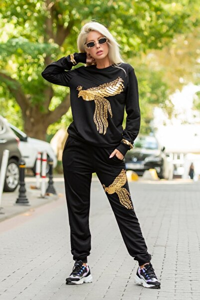 JANES Kadın Siyah Tavus Kuşu İşlemeli Janes İki İplik Kumaş Takım
