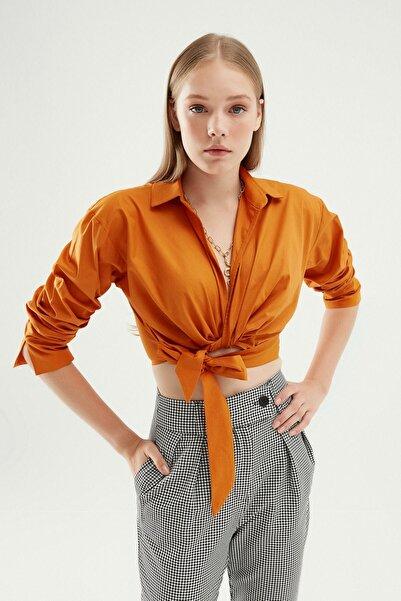 Quzu Kadın Önü Bağlamalı Crop Gömlek Koyu Oranj