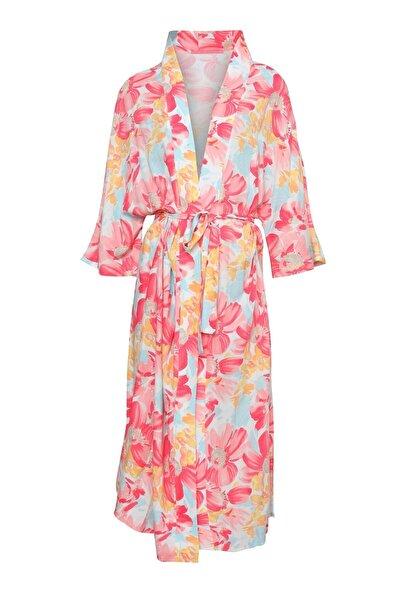 Quzu Desenli Bağlamalı Uzun Kimono Pembe