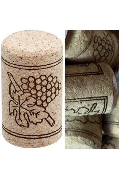 Şarap Takıları Bozcaada Şişe Mantarı 100 Adet Doğal Şarap Şişesi Tıpası Mantar Tapa