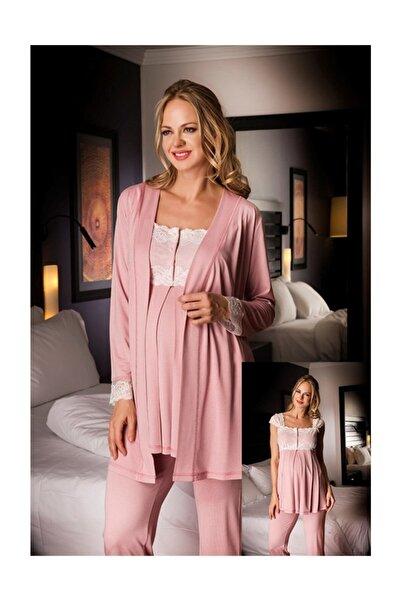 Bondy 17213 Şık Tasarım Hamile Lohusa 3 Lü Pijama Sabahlık Takım