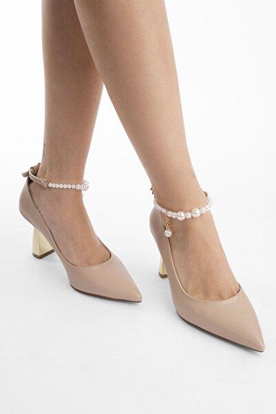 Marjin Kadın Incili Stiletto Topuklu Ayakkabı Mesribej