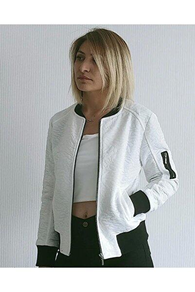 NOS STUDIS Beyaz Fermuarlı Ceket