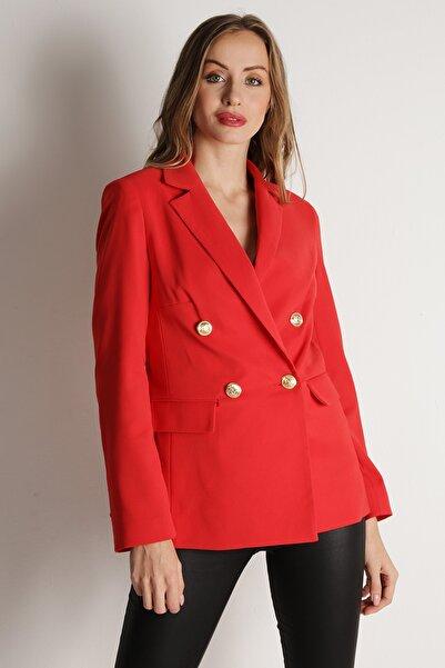 Select Moda Kadın Nar Çiçeği Düğmeli Blazer Ceket