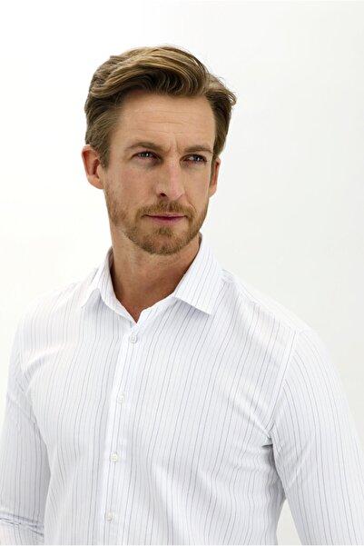 Kiğılı Uzun Kol Slim Fit Çizgili Gömlek