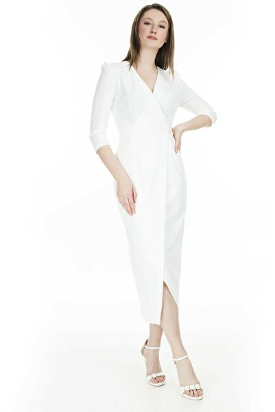 AYHAN Kadın Beyaz Kruvaze Avelop Truvakar Krep Şık Elbise