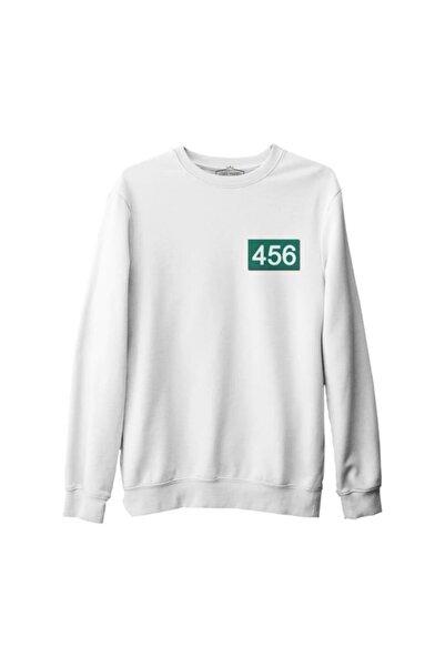 Lord T-Shirt Erkek Beyaz Squid Game - 456 Göğüs Logo Kalın Sweatshirt