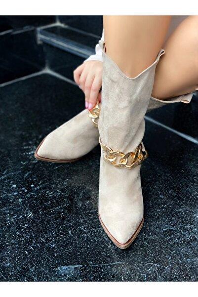 Meridam Shoes Kovboy Bej Çizme