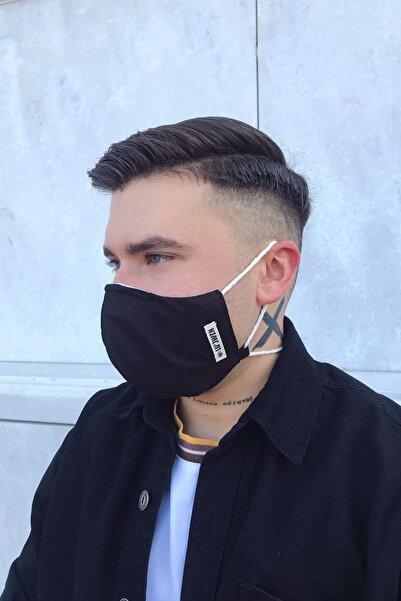 Lujwen MASKE 1 Adet Yıkanabilir 3 Katlı Telli Siyah Yetişkin  pamuk Bez Kumaş Maske