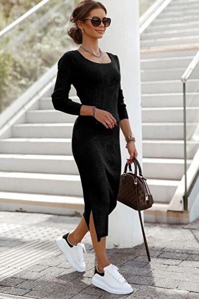 missamour Kadın Siyah Trend Yırtmaç Detaylı Kaşkorse Elbise