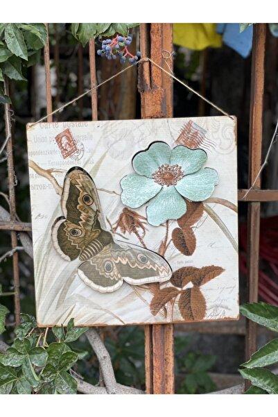 hediye diyarı Kelebek & Çiçek Desenli Metal Kabartmalı Ferforje Tablo