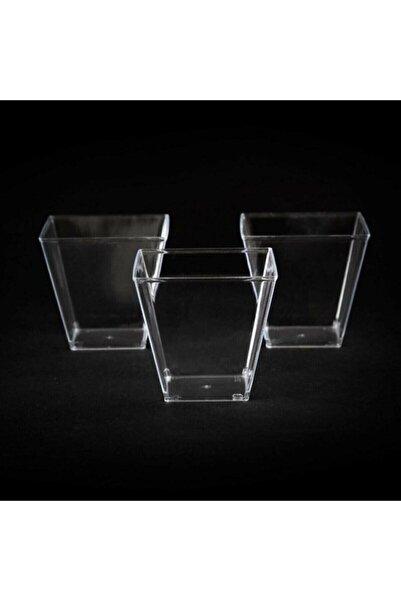 Parsilya Şeffaf Kristal Mika Sert Plastik Prizma Kübik Kase 200 Cc 25 Adet