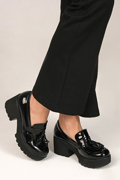 ELROZO Siyah Rugan Kadın Loafer Ayakkabı