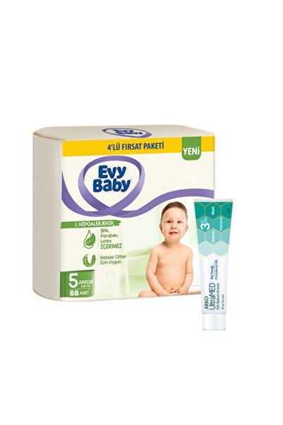 Evy Baby Bebek Bezi 5 Beden Mini 4'lü Fırsat Paketi 96 Adet Ultramed Krem Hediyeli