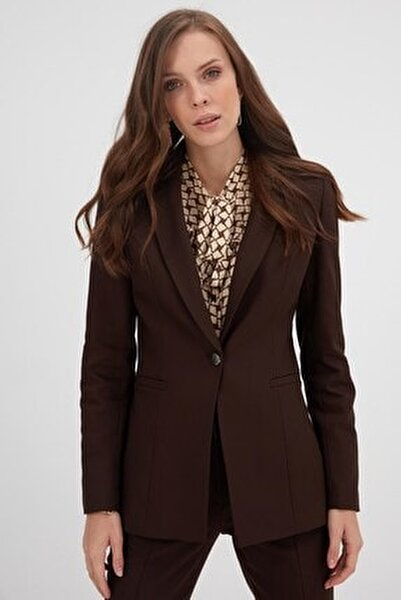 Kadın Kahverengi Tek Düğme Ceket